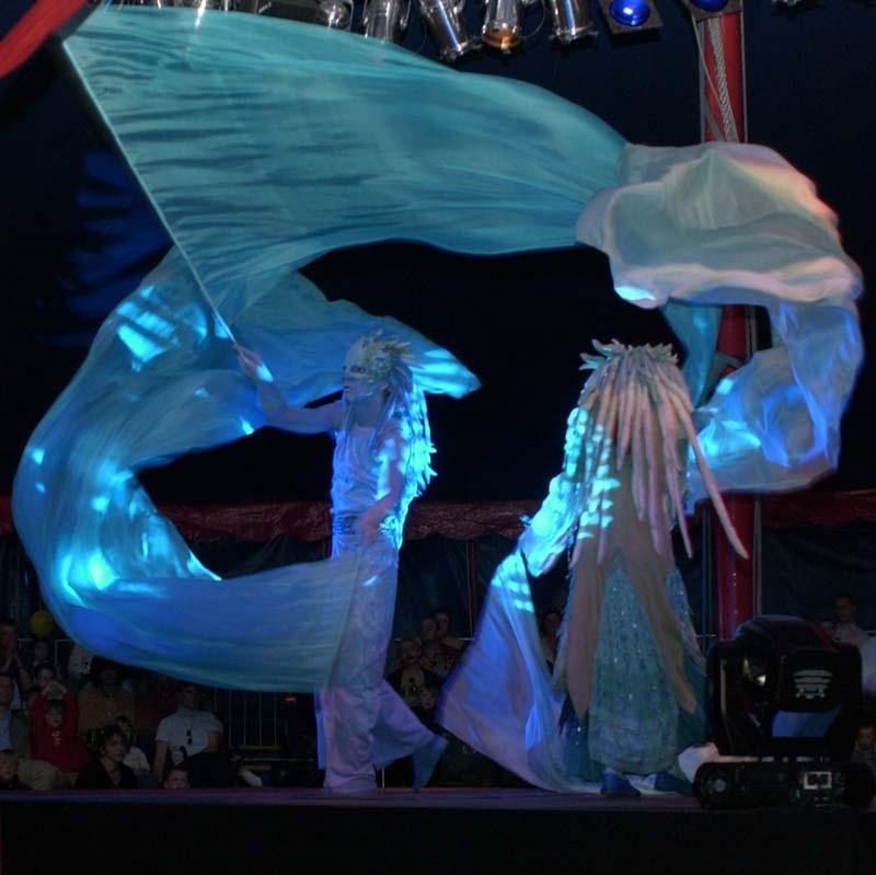 Wassermann Pantao, Gala Wasser Performance, Fahnen Choreographie